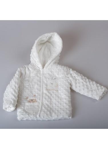 POKY Yeni Sezon Erkek Bebek Tavşan Nakışlı Çıtçıtlı Kapüşonlu Nohut Mont-Buude6698 Beyaz
